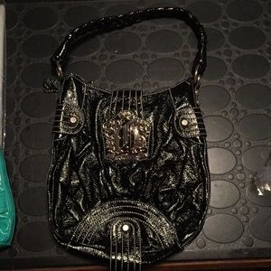 Guess Black Patent Leather Small Hobo braid strap